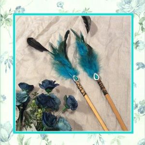 🌺2PC BLUE HAIR FEATHER BLING LACE CHOPSTICKS BOHOBoutique, used for sale